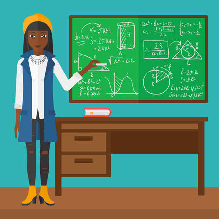 An african-american woman standing in classroom in front of the blackboard with a piece of chalk in her hand vector flat design illustration. Square layout.
