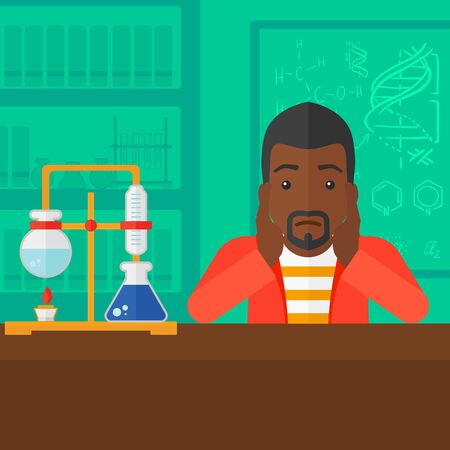 african student: An african-american man clutching his head on the background of chemistry laboratory vector flat design illustration. Square layout.
