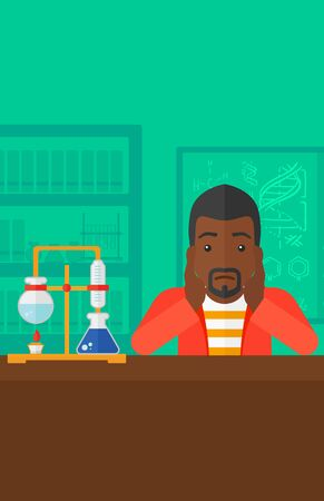 african student: An african-american man clutching his head on the background of chemistry laboratory vector flat design illustration. Vertical layout.