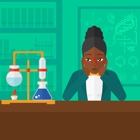 african student: An african-american woman clutching her head on the background of chemistry laboratory vector flat design illustration. Square layout.