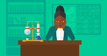 despair: An african-american woman in despair clutching her head on the background of chemistry laboratory vector flat design illustration. Horizontal layout.