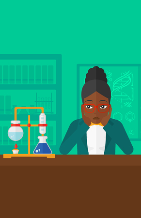 despair: An african-american woman in despair clutching her head on the background of chemistry laboratory vector flat design illustration. Vertical layout. Illustration