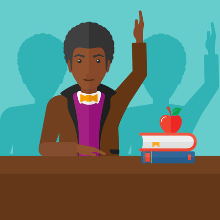 student study: An african-american  man raising his hand while sitting at the table on a blue backgrond vector flat design illustration. Square layout. Illustration