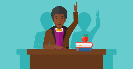 student study: An african-american man raising his hand while sitting at the table on a blue backgrond vector flat design illustration. Horizontal layout.