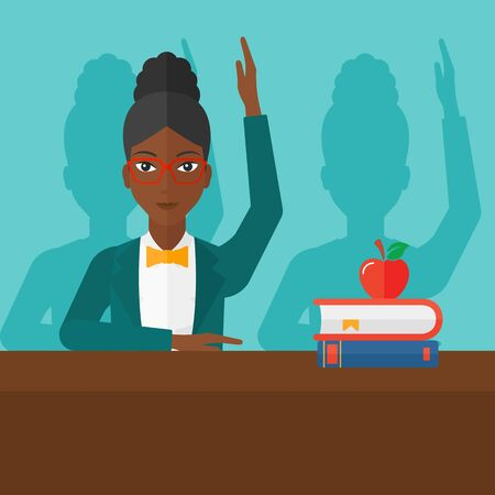 student study: An african-american woman raising her hand while sitting at the table on a blue backgrond vector flat design illustration. Square layout. Illustration