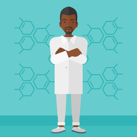medicine and science: An african-american laboratory assistant on a blue background with molecular structure vector flat design illustration. Square layout.