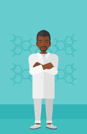 obrero caricatura: Un ayudante de laboratorio africano-americano sobre un fondo azul con estructura molecular ilustraci�n vectorial dise�o plano. disposici�n vertical.