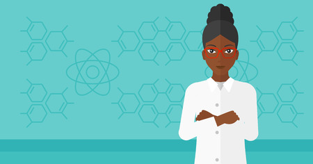 science education: An african-american laboratory assistant on a blue background with molecular structure vector flat design illustration. Horizontal layout. Illustration