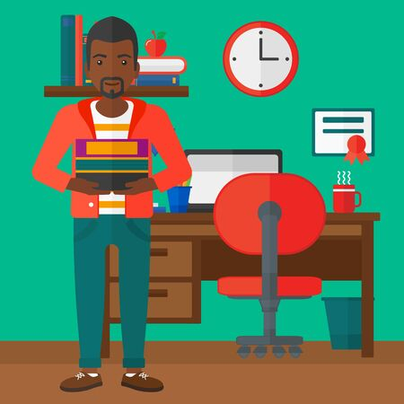 An african-american man holding pile of books on the background of room vector flat design illustration. Square layout.