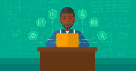 american table: An african-american man sitting at the table and working on a laptop connected with icons of school sciences on the background of green blackboard vector flat design illustration. Horizontal layout.
