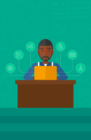 computer science class: An african-american man sitting at the table and working on a laptop connected with icons of school sciences on the background of green blackboard vector flat design illustration. Vertical layout. Illustration