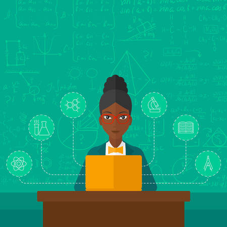 science icons: An african-american woman sitting at the table and working on a laptop connected with icons of school sciences on the background of green blackboard vector flat design illustration. Square layout. Illustration