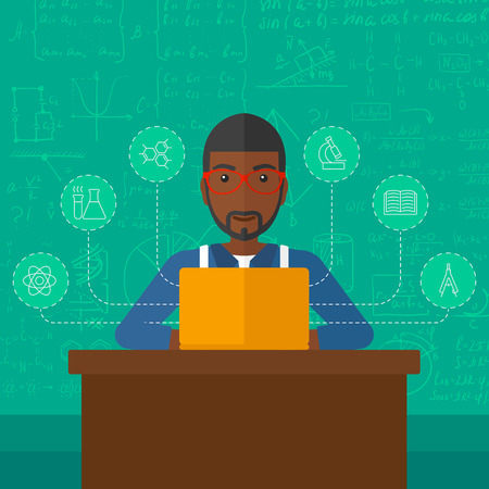 science education: An african-american man sitting at the table and working on a laptop connected with icons of school sciences on the background of green blackboard vector flat design illustration. Square layout.