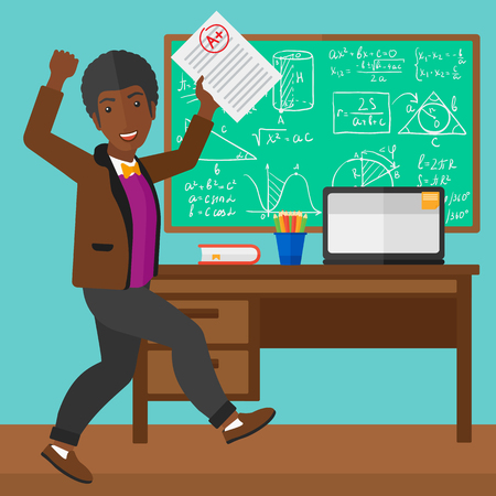 square sheet: An african-american happy pupil holding a sheet with the highest mark on the background of classroom vector flat design illustration. Square layout.