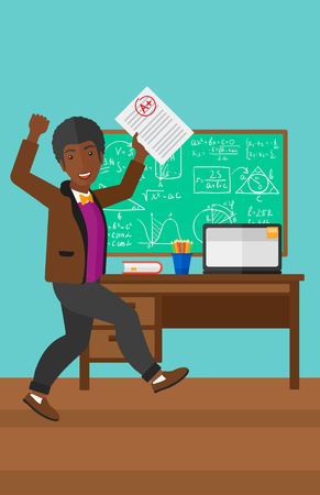 An african-american happy pupil holding a sheet with the highest mark on the background of classroom vector flat design illustration. Vertical layout.