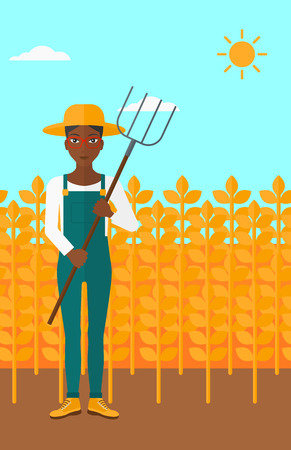 An african-american woman standing with a pitchfork on the background of wheat field vector flat design illustration. Vertical layout. Illustration