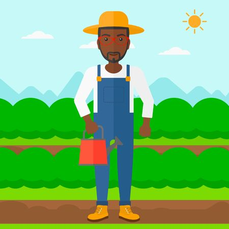 An african-american man holding a watering can on the background of field rows with green bushes vector flat design illustration. Square layout.