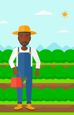 harvesting: An african-american man holding a watering can on the background of field rows with green bushes vector flat design illustration. Vertical layout.