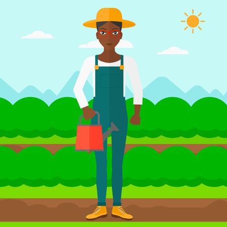 緑の茂みベクトル フラット設計図を持つフィールド行の背景に水まき缶を保持しているアフリカ系アメリカ人の女性。正方形のレイアウト。  イラスト・ベクター素材