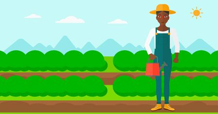 緑の茂みベクトル フラット設計図を持つフィールド行の背景に水まき缶を保持しているアフリカ系アメリカ人の女性。水平方向のレイアウト。
