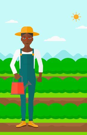 緑の茂みベクトル フラット設計図を持つフィールド行の背景に水まき缶を保持しているアフリカ系アメリカ人の女性。縦型レイアウト。