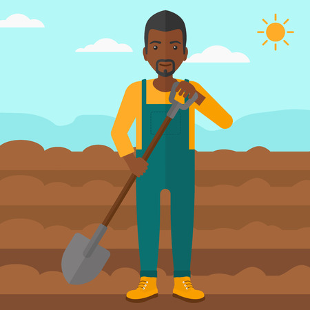 digging: An african-american man with shovel on a background of plowed agricultural field vector flat design illustration. Square layout. Illustration