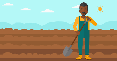 plowed: An african-american man with shovel on a background of plowed agricultural field vector flat design illustration. Horizontal layout.