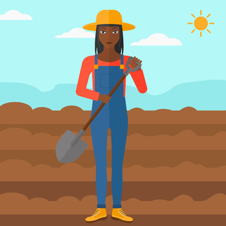 plowed: An african-american  woman with shovel on a background of plowed agricultural field vector flat design illustration. Square layout.