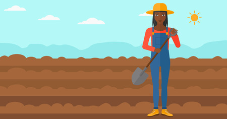 plowed: An african-american woman with shovel on a background of plowed agricultural field vector flat design illustration. Horizontal layout.