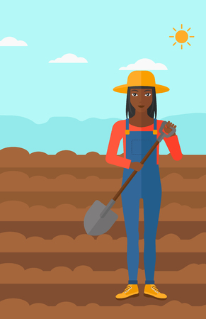 plowed: An african-american woman with shovel on a background of plowed agricultural field vector flat design illustration. Vertical layout.