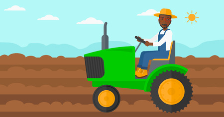 fieldwork: An african-american man driving a tractor on a background of plowed agricultural field vector flat design illustration. Horizontal layout.