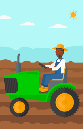 fieldwork: An african-american man driving a tractor on a background of plowed agricultural field vector flat design illustration. Vertical layout. Illustration