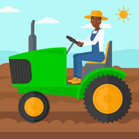 Afroamerykańska kobieta jedzie ciągnika na tle zaorana rolnicza śródpolna wektorowa płaska projekt ilustracja. Układ kwadratowy.