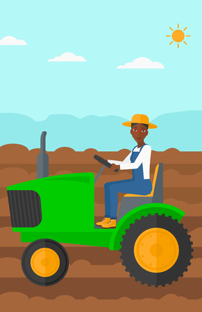 fieldwork: An african-american woman driving a tractor on a background of plowed agricultural field vector flat design illustration. Vertical layout.