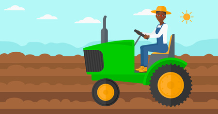 cultivator: An african-american woman driving a tractor on a background of plowed agricultural field vector flat design illustration. Horizontal layout.