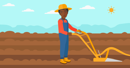 furrow: An african-american man using a plough on the background of plowed agricultural field vector flat design illustration. Horizontal layout.