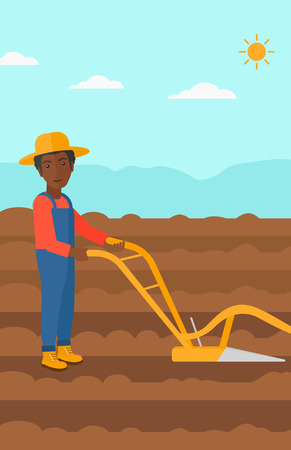 furrow: An african-american man using a plough on the background of plowed agricultural field vector flat design illustration. Vertical layout.