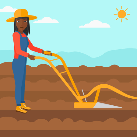plowed: An african-american woman using a plough on the background of plowed agricultural field vector flat design illustration. Square layout. Illustration