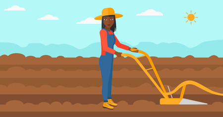 furrow: An african-american woman using a plough on the background of plowed agricultural field vector flat design illustration. Horizontal layout. Illustration