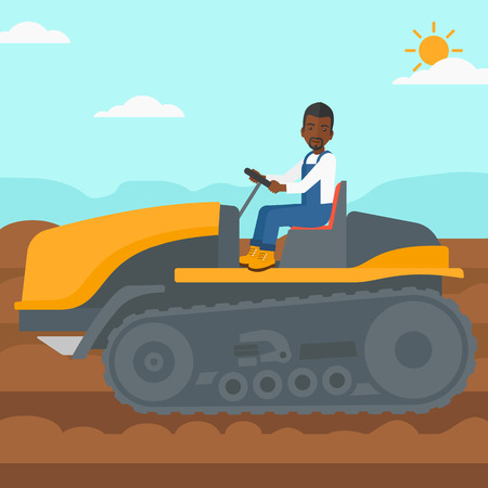 fieldwork: An african-american man driving a catepillar tractor on a background of plowed agricultural field vector flat design illustration. Square layout. Illustration
