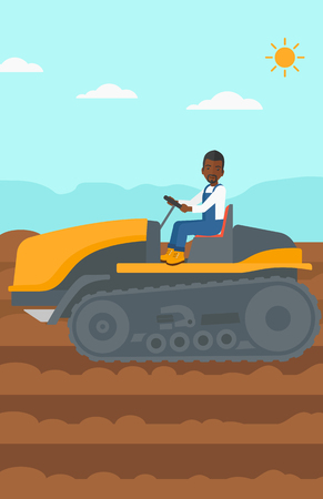fieldwork: An african-american man driving a catepillar tractor on a background of plowed agricultural field vector flat design illustration. Vertical layout.