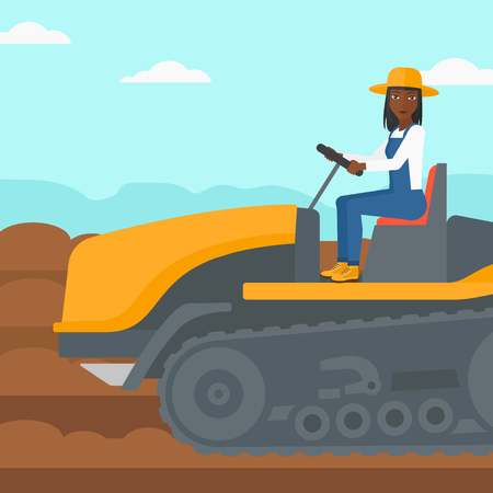 fieldwork: An african-american woman driving a catepillar tractor on a background of plowed agricultural field vector flat design illustration. Square layout.