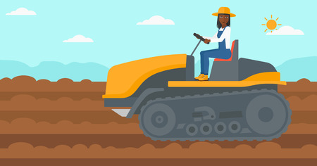 An african-american woman driving a catepillar tractor on a background of plowed agricultural field vector flat design illustration. Horizontal layout.