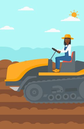cultivator: An african-american woman driving a catepillar tractor on a background of plowed agricultural field vector flat design illustration. Vertical layout.