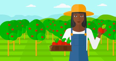 arboles frutales: Una mujer afroamericana que sostiene una caja de manzanas en una mano y una manzana en la otra sobre un fondo de jard�n con �rboles vector Ilustraci�n dise�o plano. disposici�n horizontal.