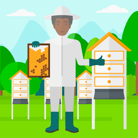 beeswax: An african-american man wearing protective suit holding a framework in hand and showing thumb up on the background of apiary vector flat design illustration. Square layout.