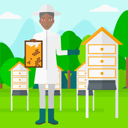 clothes cartoon: An african-american woman wearing protective suit holding a framework in hand and showing thumb up on the background of apiary vector flat design illustration. Square layout. Illustration