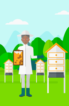 protective suit: An african-american woman wearing protective suit holding a framework in hand and showing thumb up on the background of apiary vector flat design illustration. Vertical layout.