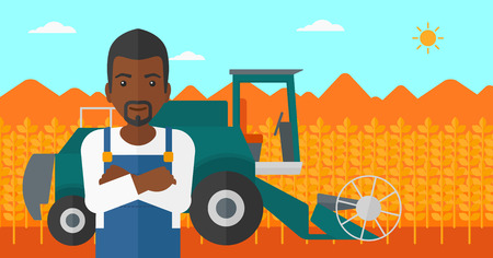 cultivator: An african-american man standing on the background of combine harvesting wheat vector flat design illustration. Horizontal layout.