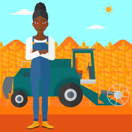 cultivator: An african-american woman standing on the background of combine harvesting wheat vector flat design illustration. Square layout.